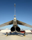 Jetfighter rear view. Air Force fighter jet on the ground rear view closeup Stock Photo