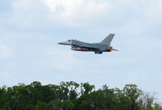 Jetfighter taking off. Modern air force jet taking off over trees Stock Photography