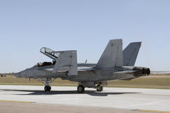 Jetfighter taxiing. Modern US Navy fighter jet on the ground Royalty Free Stock Photo