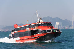 Jetfoil ferry in Hong Kong. Jetfoil ferry ship at Victoria Harbour in Hong Kong Royalty Free Stock Photo