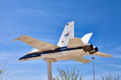 JetHawks, Lancaster, California, USA - April 5, 2017 :JetHawks, Lancaster, California, USA. The NASA F18 aircraft on the Stock Images