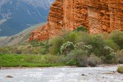 Jeti Oguz - famouns Kyrgyz sandstone cliffs Seven bulls Stock Image