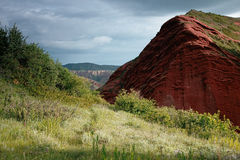 Jeti Oguz Kyrgyz sandstone cliffs Seven bulls Royalty Free Stock Photo