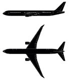 Jetliner. Detailed vector silhouette with windows and cockpit of passenger jet.Side and top view.Vector illustration Stock Photo