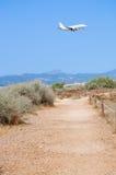 Jetliner landing in Palma. Royalty Free Stock Photo