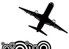 Jetliner silhouette. Bottom view silhouette of flying jetliner Stock Photos