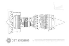 Jetmotor av flygplan Del av flygplanet Slapp fokus Aerospase industriell teckning Översiktsbild Royaltyfria Bilder