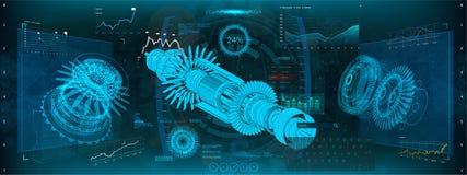 Jetmotor av flygplanet i HUD UI stil royaltyfri illustrationer