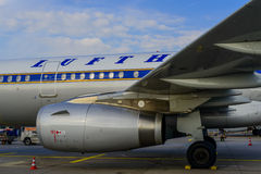 Jetmotor för Lufthansa flygbuss A321-231 Royaltyfri Fotografi