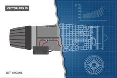 Jetmotor i en översiktsstil Industriell vektorritning Del av flygplanet Slapp fokus Royaltyfria Bilder