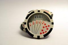 100 jetons de poker Image libre de droits