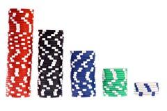 Jetons de poker colorés d'isolement sur le blanc Photo stock