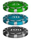 Jetons de poker de casino avec le coût Photo stock