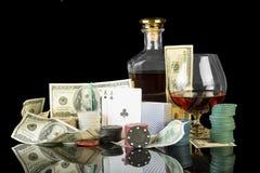 Jetons de poker et billets d'un dollar Photo libre de droits