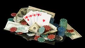 Jetons de poker et billets d'un dollar Photos libres de droits