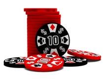 Jetons de poker noirs et rouges Photos libres de droits