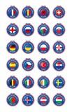 Jetons-Symbole der beteiligten Länder zum abschließenden Fußballturnier von Euro 2016 in Frankreich-Gruppe sortiert lizenzfreie abbildung