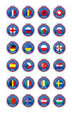 Jetons Symbols of the participating countries to the final soccer tournament of Euro 2016 in france group sorted Royalty Free Stock Photo
