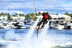 Jetpack demonstration by Brendan Radke. Sanctuary Cove International Boat show 2013, Queensland, Australia Royalty Free Stock Image
