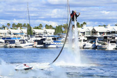 Jetpack demonstration by Brendan Radke. Sanctuary Cove International Boat show 2013, Queensland, Australia Stock Photography