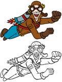 Jetpack man line art Stock Images
