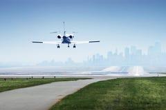 jetplane着陆 免版税图库摄影