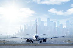 jetplane προσγειωμένος Στοκ εικόνα με δικαίωμα ελεύθερης χρήσης