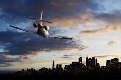Jetplane in de hemel Stock Fotografie