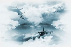 Jets Background. Two Fighter Jets in Mission. Great as Background for Military Related Artworks. Two Jets Between the Clouds Illustration Stock Image