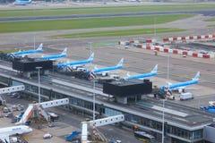 Jets de KLM garés chez Schiphol Photos libres de droits