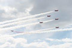 Jets del T1 del halcón en salón aeronáutico Imágenes de archivo libres de regalías