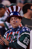 Jets Fan after September 11, 2001. A New York Jets fan shows his support for America at the first game after the September 11, 2001 attack.  (image taken from Royalty Free Stock Photography