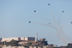 Jets Fly Over Alcatraz Island in Air Show Stock Images