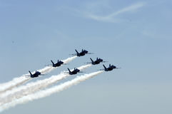 Jets flying in formation. Jets flying over formation above lake washington Stock Images