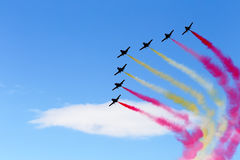 Jets formation with color smoke Stock Photography