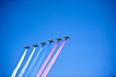 Jets in formation, Moscow, Russia Stock Photography