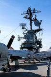 Jets line the deck of the Intrepid. Stock Photo