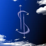 Jets making dollar sign in sky Royalty Free Stock Photos