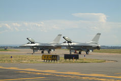 Jets Ready. Two fighter jets on runway ready to go Stock Images