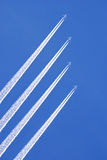 Jets up in the sky. Composition of four jet airplane pictures in blue sky Royalty Free Stock Photography