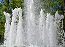Jets of water in city fountain Royalty Free Stock Photo