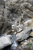 Jets of water flow down from the boulder in the mountains of Tien Shan Stock Image