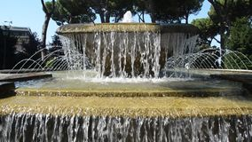 TIVOLI, ITALY - AUGUST 2018: Jets of water flow from the fountain at Villa D`este in Tivoli, part of the UNESCO heritage. Jets of water flow from the fountain at stock video footage