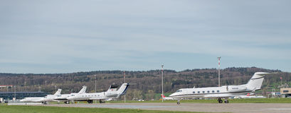 Jets in the Zurich Airport Royalty Free Stock Photos