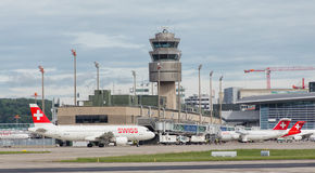 Jets in the Zurich Airport Stock Photography