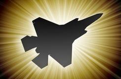 Jetsilhouet, moderne vechter in de hemel vector illustratie