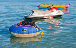 Jetski and bananaboat Stock Photo