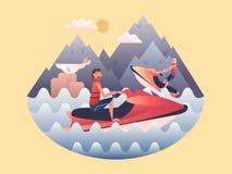Jetski designlägenhet stock illustrationer
