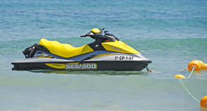 Jetski in the Mediterranean Sea Royalty Free Stock Image
