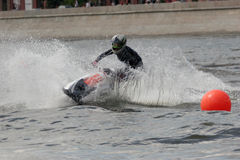 Jetski on the Moscow river. Competition on the jet ski on the Moscow river Royalty Free Stock Images